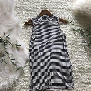 Forever 21 High-Slit Mock-Neck Striped Tunic